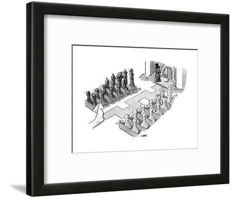 A wedding in which the characters are all chess pieces, with the bishop ma... - New Yorker Cartoon--Framed Art Print