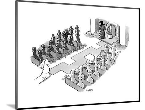 A wedding in which the characters are all chess pieces, with the bishop ma... - New Yorker Cartoon--Mounted Premium Giclee Print
