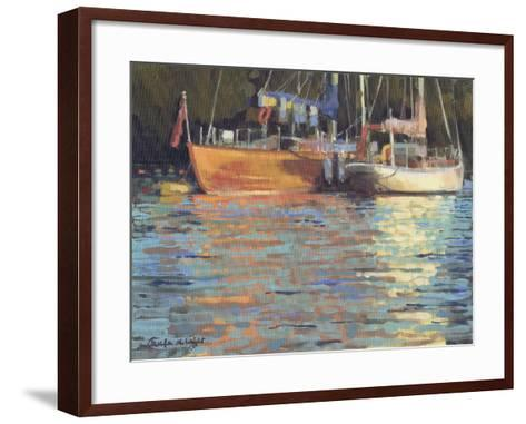 Afternoon Yacht Reflections-Jennifer Wright-Framed Art Print