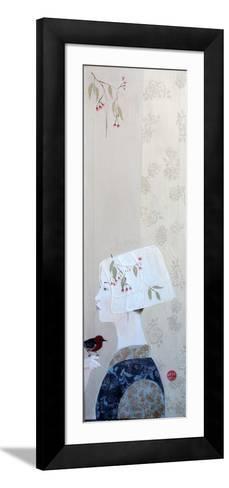 Japanese Lady in Bonnet with Honey Eater, 2015-Susan Adams-Framed Art Print