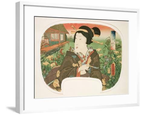 Autumn, Hanayashiki: a Geisha with a Pipe-Utagawa Kunisada-Framed Art Print