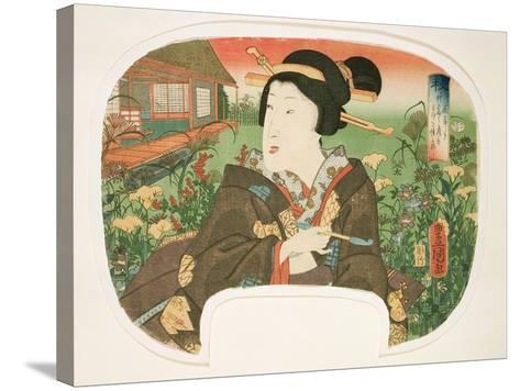 Autumn, Hanayashiki: a Geisha with a Pipe-Utagawa Kunisada-Stretched Canvas Print