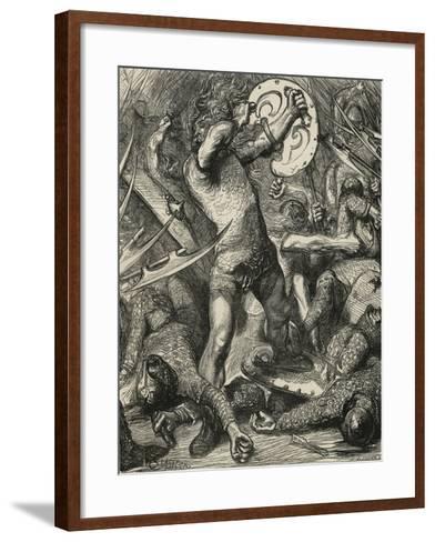 Hereward Cutting His Way Through the Norman Host-James Cooper-Framed Art Print