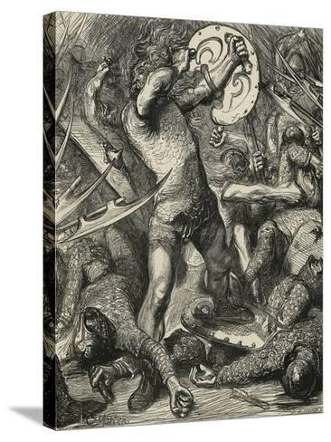 Hereward Cutting His Way Through the Norman Host-James Cooper-Stretched Canvas Print