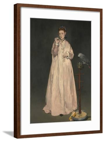 Young lady in 1866-Edouard Manet-Framed Art Print