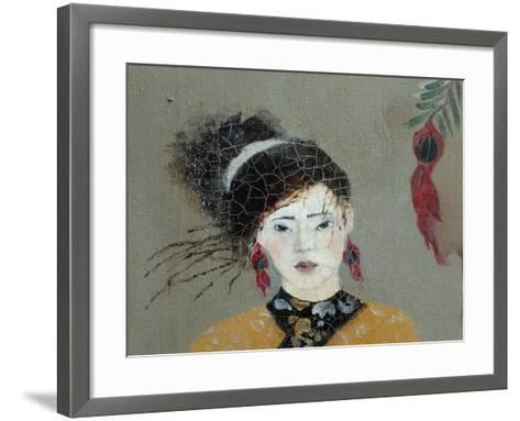 Qing Dynasty Women with Flowers, 2016 (Detail)-Susan Adams-Framed Art Print