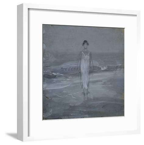 Woman in White Dress Walking at Water's Edge by the Sea-Francesco Paolo Michetti-Framed Art Print