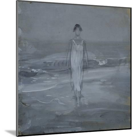 Woman in White Dress Walking at Water's Edge by the Sea-Francesco Paolo Michetti-Mounted Giclee Print