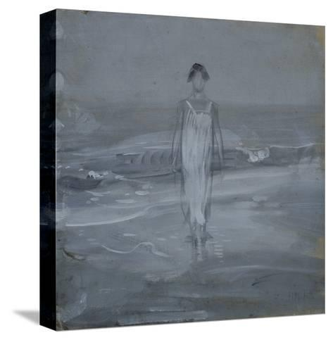 Woman in White Dress Walking at Water's Edge by the Sea-Francesco Paolo Michetti-Stretched Canvas Print