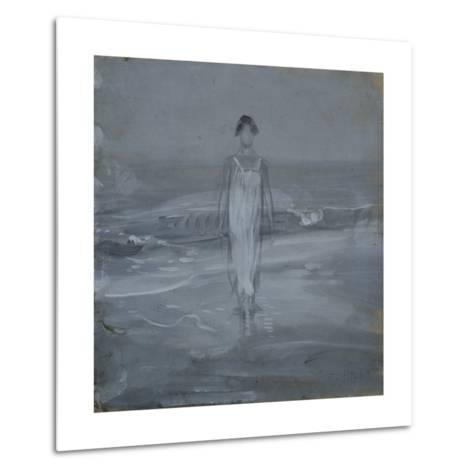 Woman in White Dress Walking at Water's Edge by the Sea-Francesco Paolo Michetti-Metal Print
