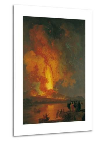 Eruption of Vesuvius, Pierre-Jacques Volaire, 18th C. People Watch from across Gulf of Naples-Pierre-Jacques Volaire-Metal Print