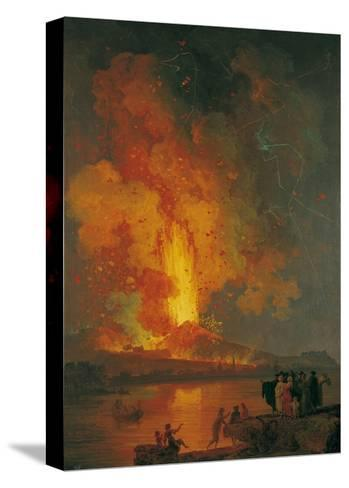 Eruption of Vesuvius, Pierre-Jacques Volaire, 18th C. People Watch from across Gulf of Naples-Pierre-Jacques Volaire-Stretched Canvas Print