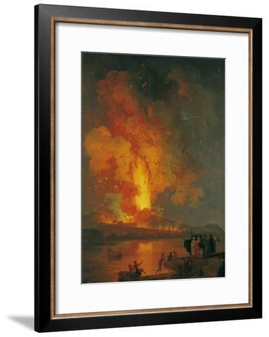 Eruption of Vesuvius, Pierre-Jacques Volaire, 18th C. People Watch from across Gulf of Naples-Pierre-Jacques Volaire-Framed Art Print