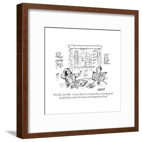 """I'm O.K., I'm O.K.?it's just that, for a moment there, I actually found m?"" - Cartoon-David Sipress-Framed Art Print"