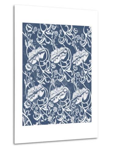 Indigo Floral Chintz II-Naomi McCavitt-Metal Print