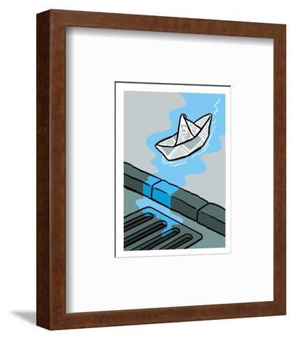 A newspaper floats toward the gutter - Cartoon-Christoph Niemann-Framed Art Print
