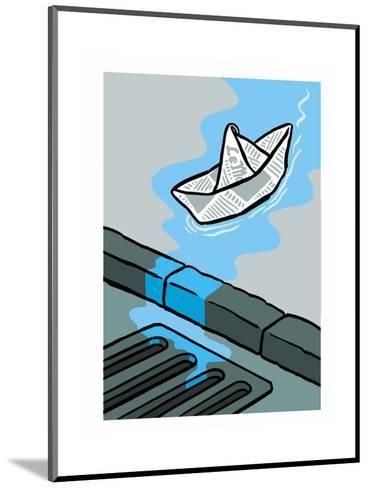 A newspaper floats toward the gutter - Cartoon-Christoph Niemann-Mounted Premium Giclee Print