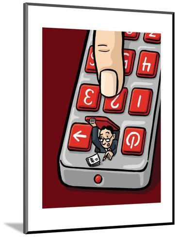 An accountant pops out of a remote - Cartoon-Christoph Niemann-Mounted Premium Giclee Print