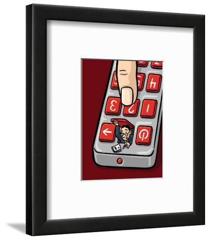 An accountant pops out of a remote - Cartoon-Christoph Niemann-Framed Art Print