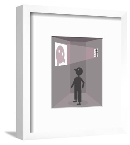 A prisoner sees his reflection - Cartoon-Christoph Niemann-Framed Art Print