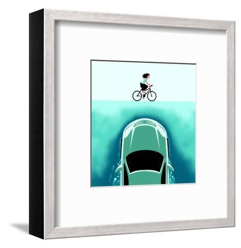 A car emerges from the deep toward a bicyclist - Cartoon-Christoph Niemann-Framed Art Print