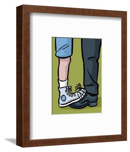 A youth and adult with their shoes tied together - Cartoon-Christoph Niemann-Framed Art Print