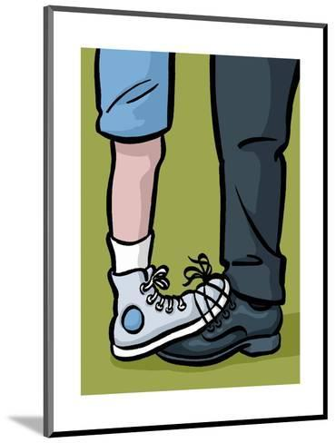 A youth and adult with their shoes tied together - Cartoon-Christoph Niemann-Mounted Premium Giclee Print
