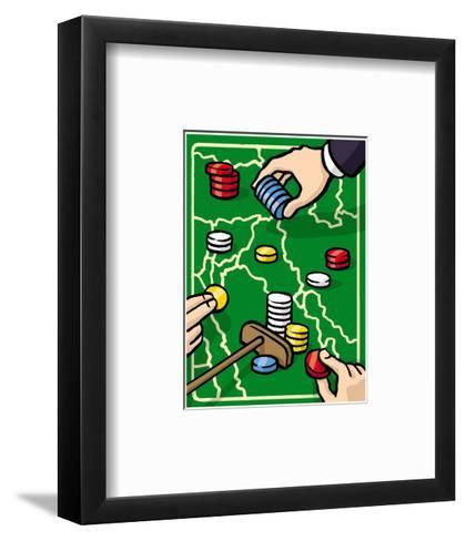 Boundries are played with poker chips - Cartoon-Christoph Niemann-Framed Art Print