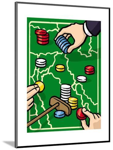 Boundries are played with poker chips - Cartoon-Christoph Niemann-Mounted Premium Giclee Print