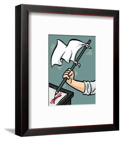 Waving the white flag - New Yorker Cartoon-Christoph Niemann-Framed Art Print