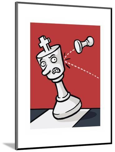 A pawn knocks over a King - Cartoon-Christoph Niemann-Mounted Premium Giclee Print