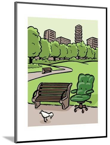 A office chair sits in the park - Cartoon-Christoph Niemann-Mounted Premium Giclee Print