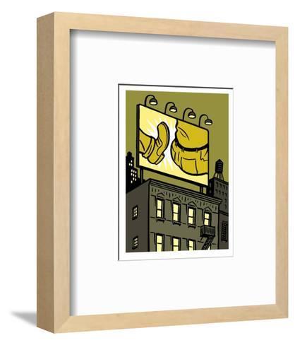 A billboard depicts a butt kick - New Yorker Cartoon-Christoph Niemann-Framed Art Print