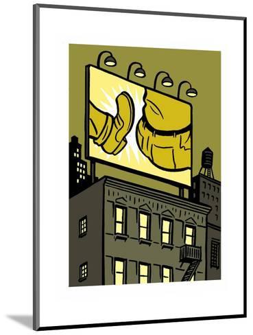 A billboard depicts a butt kick - New Yorker Cartoon-Christoph Niemann-Mounted Premium Giclee Print