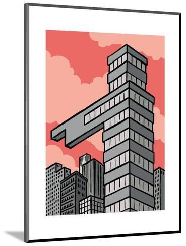 A building points that way - Cartoon-Christoph Niemann-Mounted Premium Giclee Print
