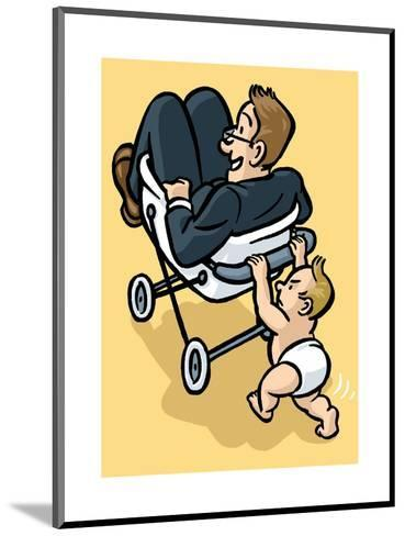 A baby begrudgingly pushes his father in a stroller. - Cartoon-Christoph Niemann-Mounted Premium Giclee Print