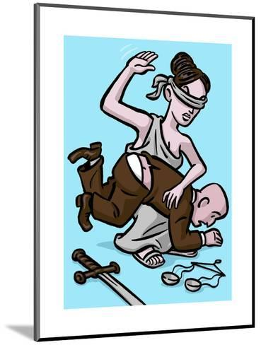 Blind Justice dishes out punishment - Cartoon-Christoph Niemann-Mounted Premium Giclee Print
