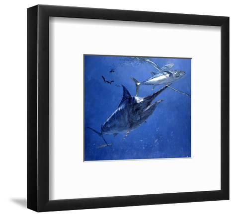 Black Marlin, Two Dogtooth Tuna and Needlefish-Stanley Meltzoff-Framed Art Print