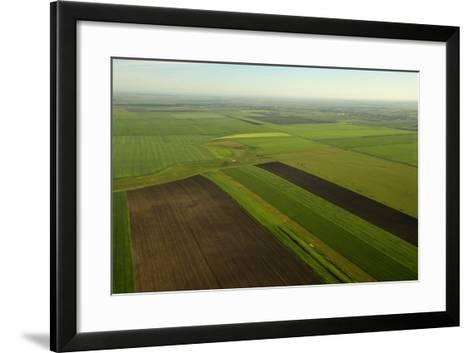 Communist-Era Collective Farm Fields in Romania-Kenneth Garrett-Framed Art Print