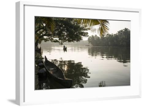 A Man Rows His Canoe Early in the Morning-Kelley Miller-Framed Art Print