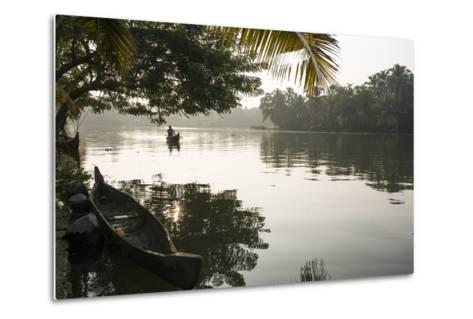 A Man Rows His Canoe Early in the Morning-Kelley Miller-Metal Print