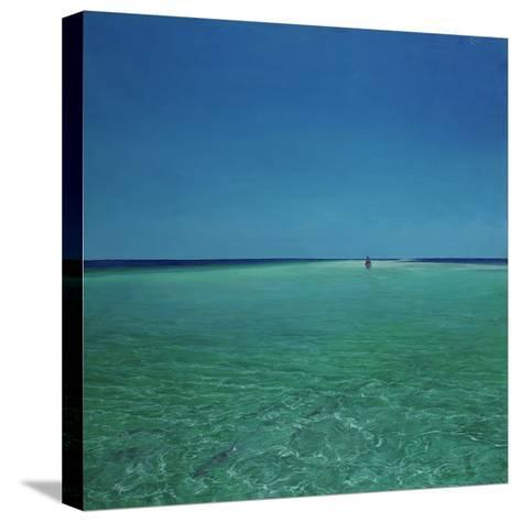The Bonefisherman: a Distant Flats Fisherman Casts His Fly for Bonefish-Stanley Meltzoff-Stretched Canvas Print
