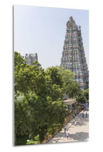 The South Tower of the Meenakshi Amman Temple Rises High Above the Street-Kelley Miller-Metal Print