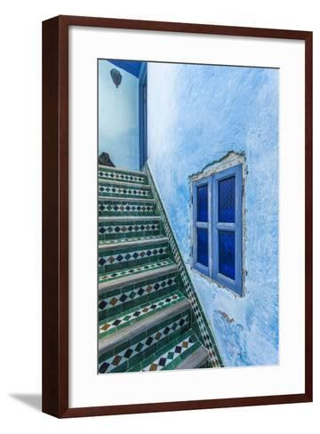A Blue Wall and a Tiled Staircase in the Garden of Le Jardin Des Biehn-Richard Nowitz-Framed Art Print