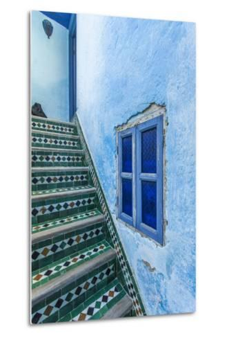 A Blue Wall and a Tiled Staircase in the Garden of Le Jardin Des Biehn-Richard Nowitz-Metal Print