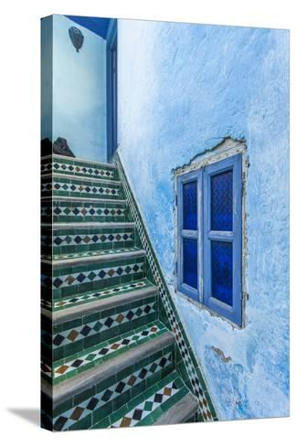 A Blue Wall and a Tiled Staircase in the Garden of Le Jardin Des Biehn-Richard Nowitz-Stretched Canvas Print