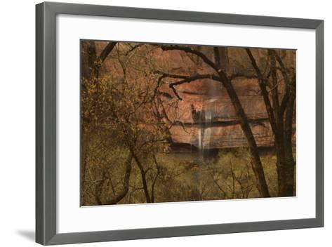 A Waterfall Cascades over Cliffs into the Virgin River in Zion National Park-Raul Touzon-Framed Art Print