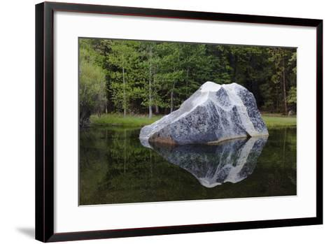 A Large Granite Boulder in Tenaya Creek, in Yosemite National Park-Marc Moritsch-Framed Art Print