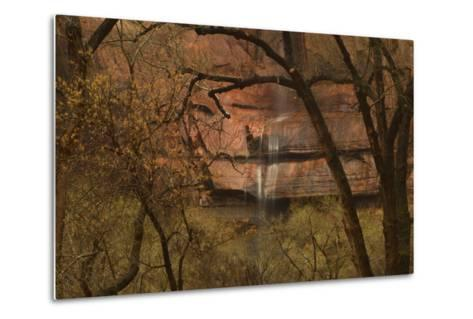A Waterfall Cascades over Cliffs into the Virgin River in Zion National Park-Raul Touzon-Metal Print