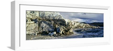 A River Flowing Along the Fracture Zone of an Enormous Glacier-Jason Edwards-Framed Art Print